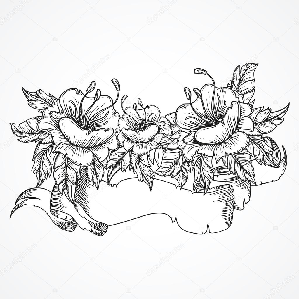 vintage floral highly detailed hand drawn bouquet of flowers and ribbon banner in black and white