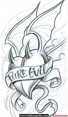 pure evil banner and winged devil heart tattoo design tattoo evil tattoos