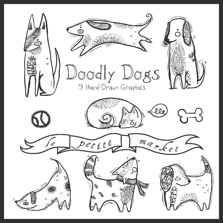 doodly cute dog clipart dog illustration hand drawn dog