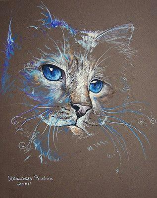 magic cat pastel feline cats original cat painting 10