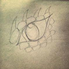dragon eye pencil sketch outline