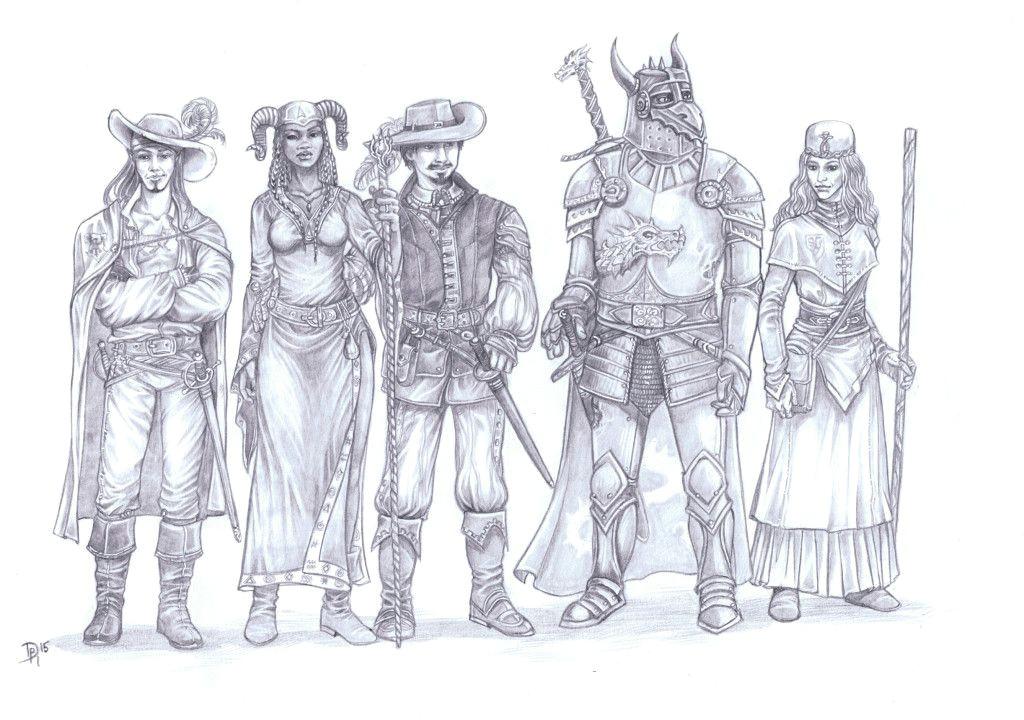 5helden fertig avatar world science fiction art fantasy rpg dungeons and dragons character