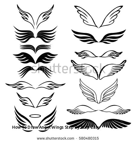 Drawing Easy Angel Wings How to Draw Angel Wings Step by Step Easy Ba Otnik Obrazy Stockowe