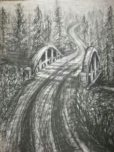 forest bridge original charcoal drawing on by orange flower original textured acrylic