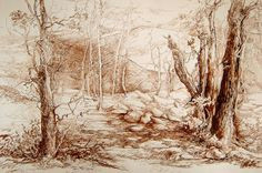 autumn forest line drawing delitsa tsoneva 2005