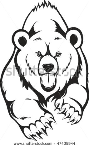 grizzly bear drawing pyrography bear stencil tribal bear tattoo vector stock