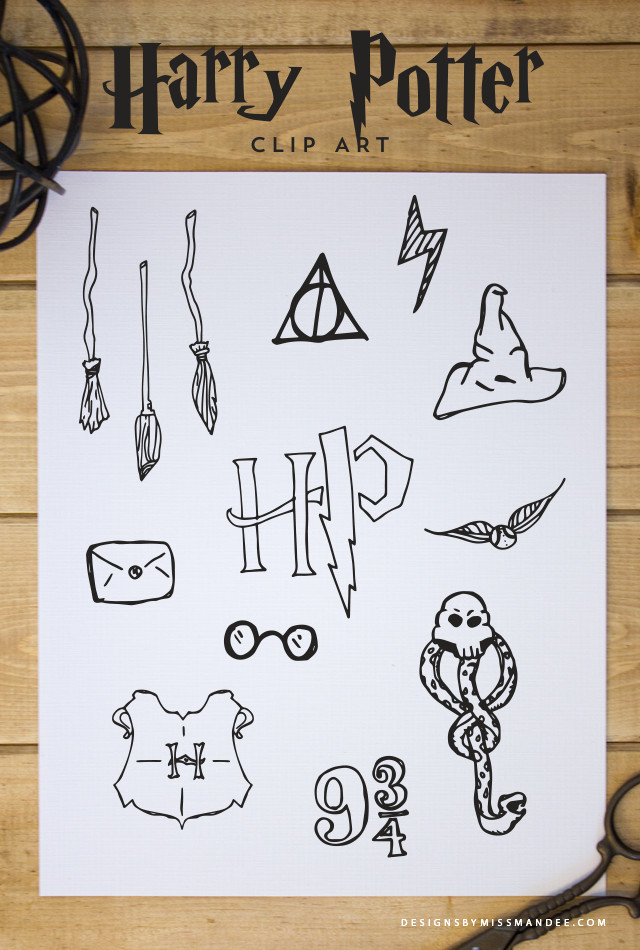 free harry potter clip art designs by miss mandee hand drawn harry potter graphics for every witch and wizard great for graduation announcements