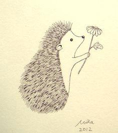 cute hedgehog love illustration print ink drawing print ivory black amp white vanilla woodland 4x6