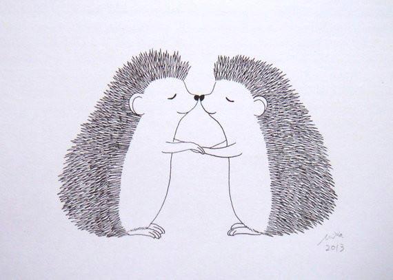 hedgehog print hedgehog kiss black white wall art cute woodland love illustration print wedding gi