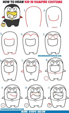 how to draw a kid in a halloween vampire costume cute kawaii easy step by step drawing tutorial for kids