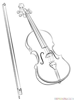 how to draw a violin and bow step by step drawing tutorials for kids and beginners