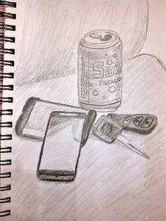 still life sketch everyday items