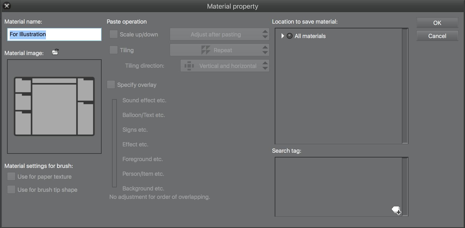 clip studio assets workspace material