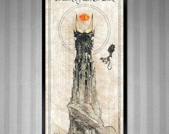 lotr sauron s tower barad dur da vinci style sketch print 11 75x36