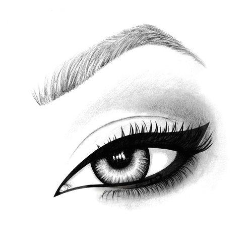 hand drawn illustration of an mac eyeliner using pen pencil and watercolour art