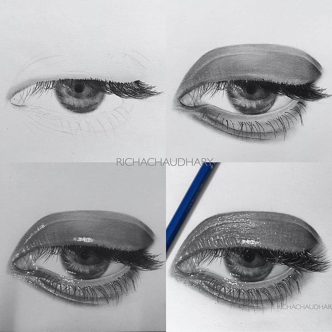 realistic eye drawing with detailed progression great reference and reminder of what the eyes should look like