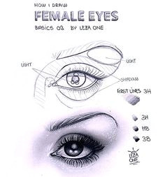drawing techniques drawing lessons drawing tips drawing ideas art lessons female eyes eye sketch female drawing realistic eye drawing