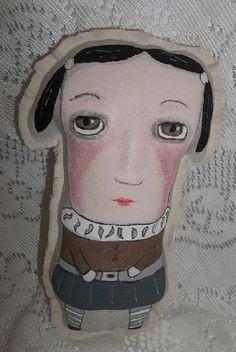 primitive doll folk art doll art doll mini cushion girl mini pillow whimsical outsider lowbrow home decor hafair artful zeal