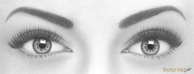 finally use a sharp 4b pencil to draw several eyelash reflections in the white rectangle want the eyes to have more depth darken your pupils as much as