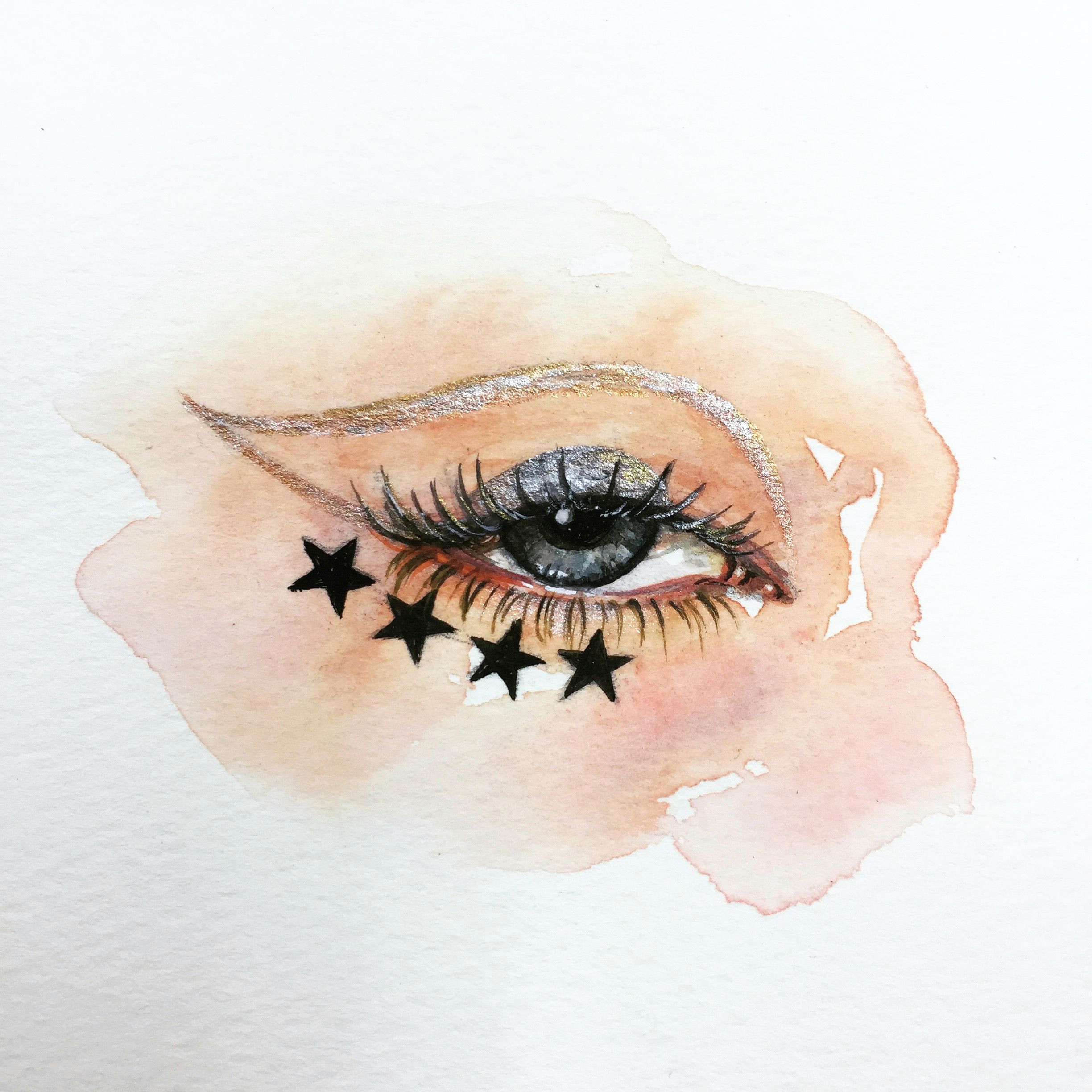 the 100 day project 41 100 100 days of eye drawing by oliviaumeiwa oliviaumeiwa art painting watercolor artist eye stars gold makeup