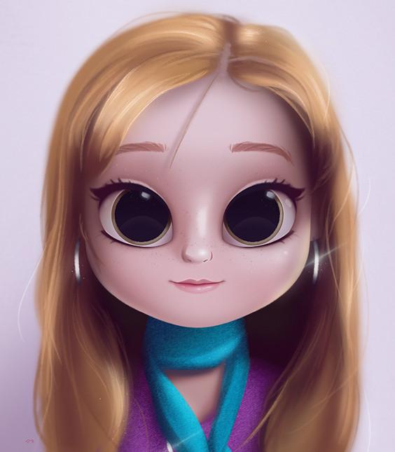 cartoon portrait digital art digital drawing digital painting character design drawing big eyes cute illustration art girl doll hair redhead