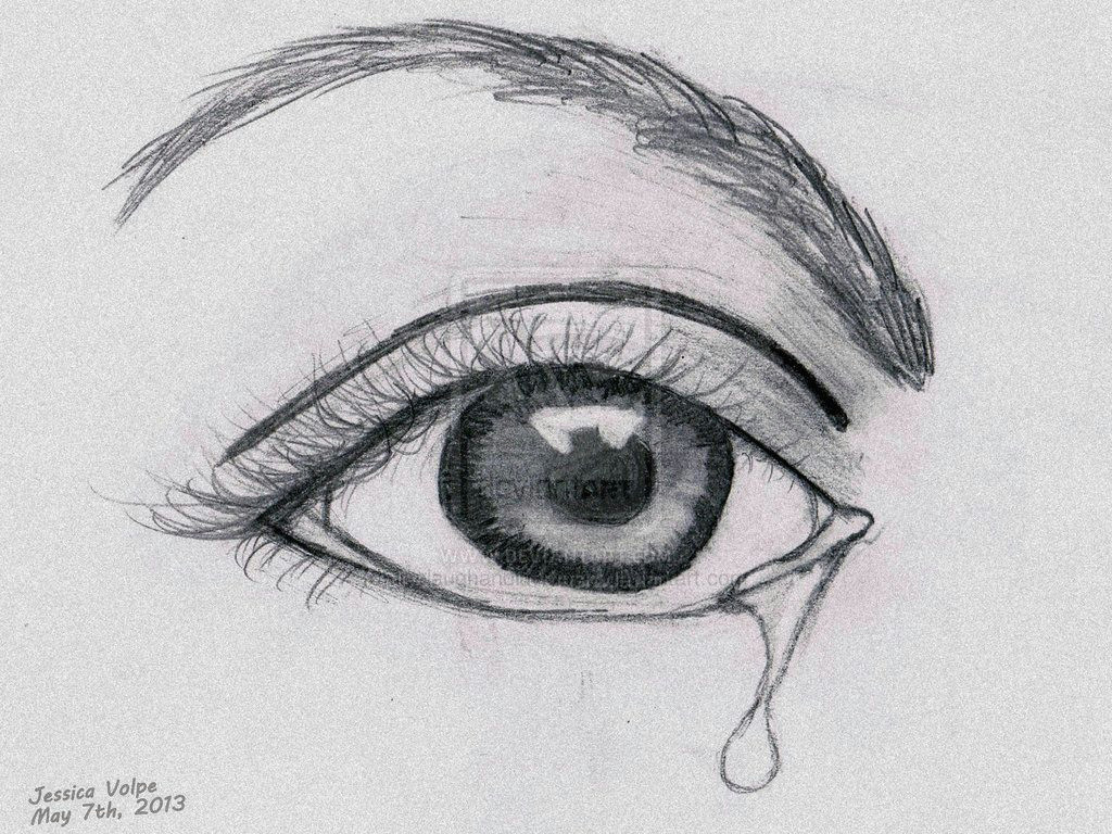 crying eye sadness sketch