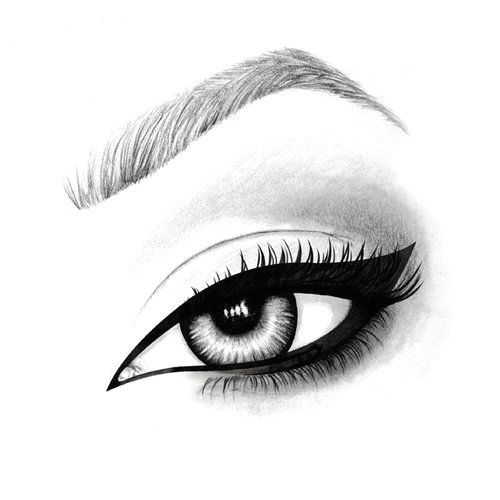 hand drawn illustration of an mac eyeliner using pen pencil and watercolour art