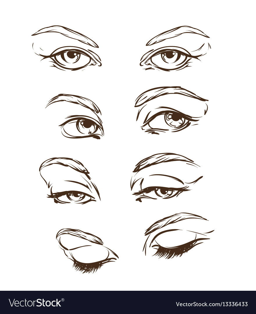 Drawing Eyes In Illustrator Hand Drawn Womens Eyes Vintage Royalty Free Vector Image