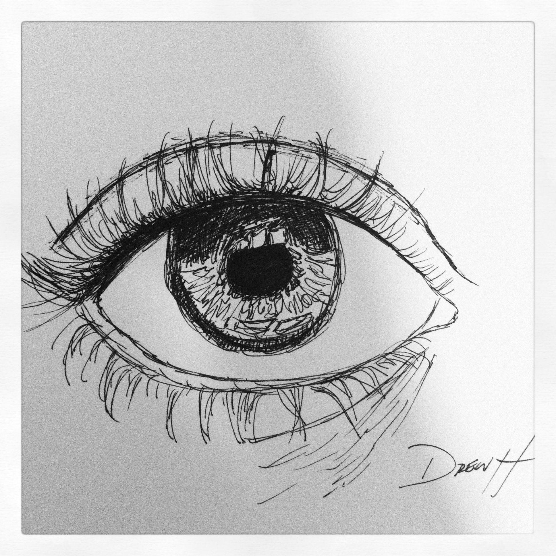 Drawing Eyes In Pen Ink Pen Sketch Eye Art In 2019 Drawings Ink Pen Drawings Pen