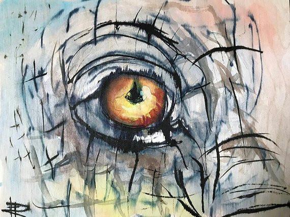 elephant eye original painting watercolor wood framed ink drawing sketch