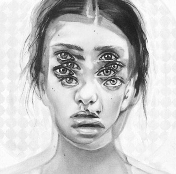 art artsy beautiful black double draw drawing eyes face fashion girl illustration inspiration love modern original paint painting paper