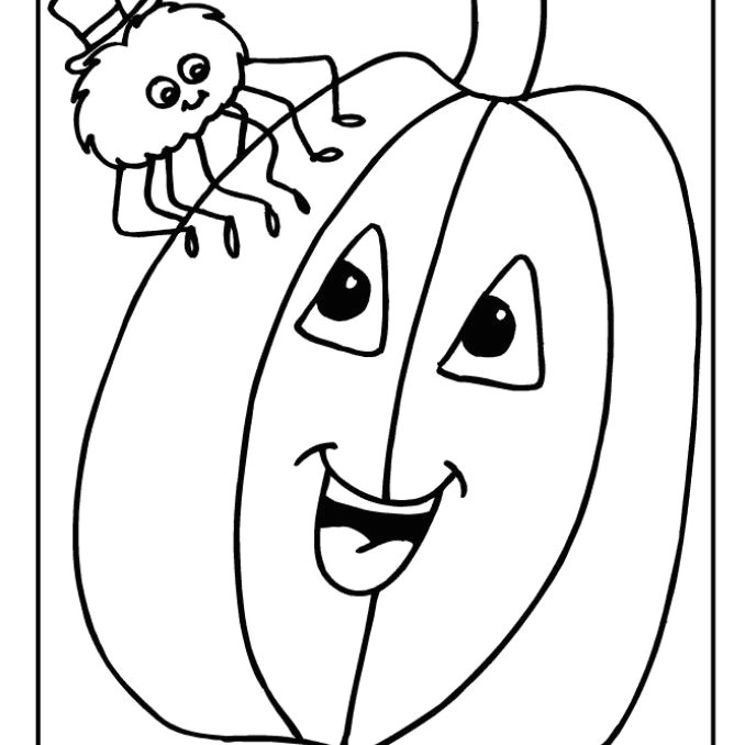 a smiling pumpkin with a spider