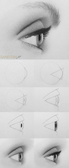 how to draw eyes from the side 10 steps