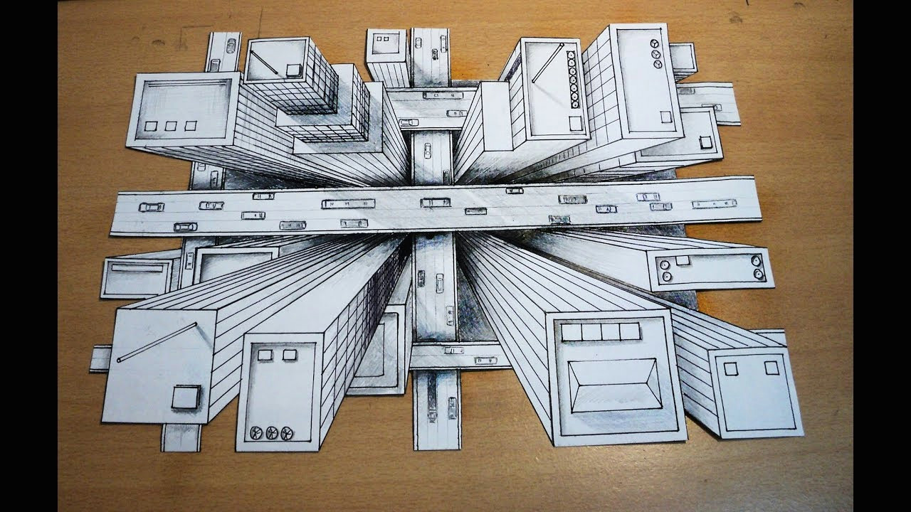 how to draw one point perspective 3d illusion high rise buildings bird s eye view