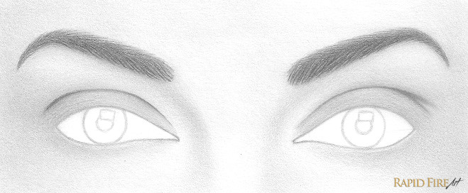 draw a small circle pupil in the center of each iris draw a rectangle or any shape you want in or touching the iris this is the reflection of light
