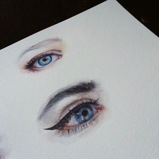 watercolor aquarelle eyes beauty makeup portrait fashion illustration face lashes mascara sennelier art painting drawing eyelashesserum
