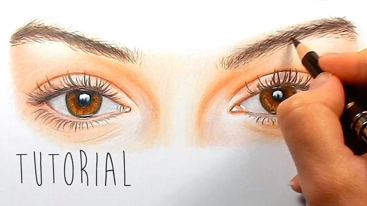 tutorial how to draw color realistic eyes with colored pencils step