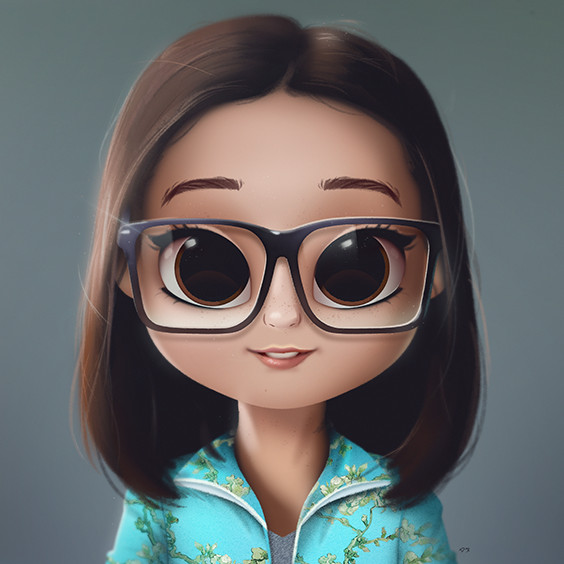 cartoon portrait digital art digital drawing digital painting character design drawing big eyes cute illustration art girl doll hair van gogh