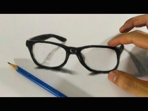how to draw 3d eye glasses 3d trick art