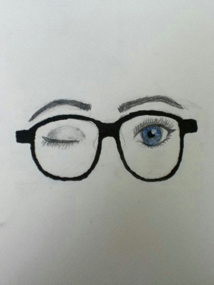 my drawing of eyes winking with nerd glasses