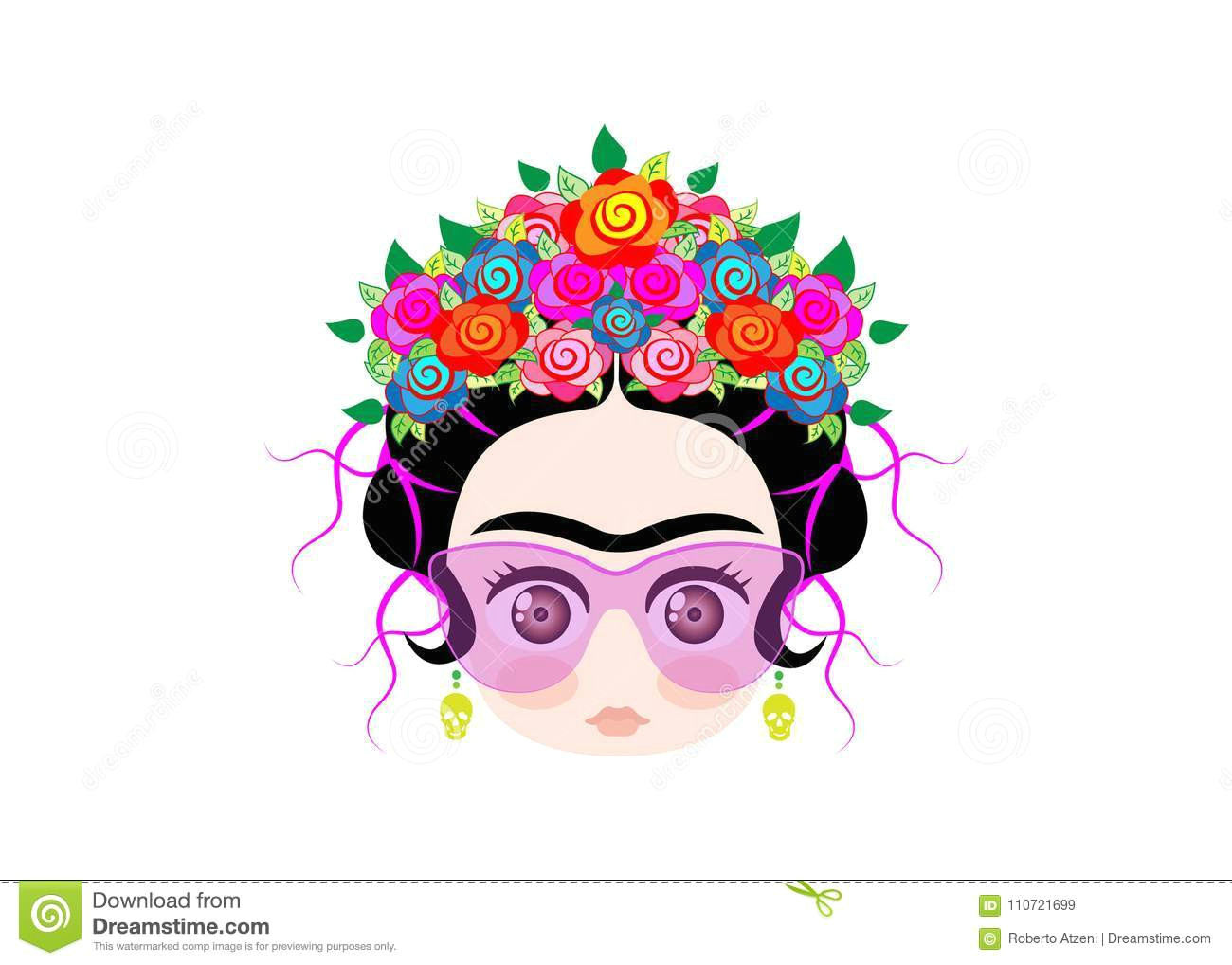 emoji baby frida kahlo with crown of colorful flowers and glasses