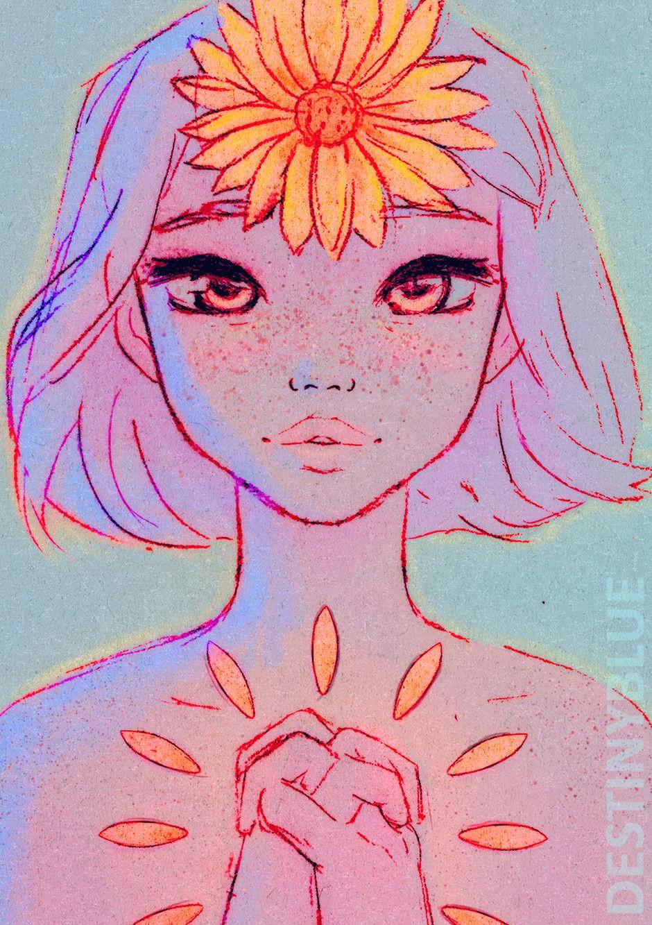 illustrations by destinyblue head and heart blue art art tips traditional art