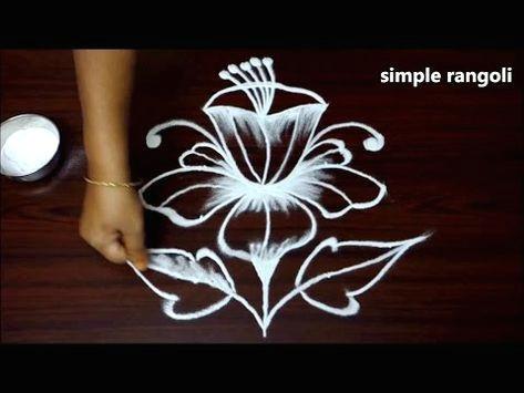 beautiful rose rangoli designs with out colors simple kolam with 5 dots innovative muggulu youtube