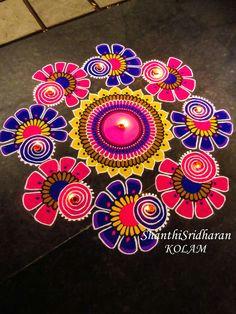 kolam mandala circle round drawing art pink purple yellow