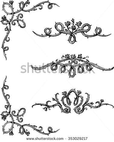 vine roses set of thorny rose vines in hand drawn sketch set