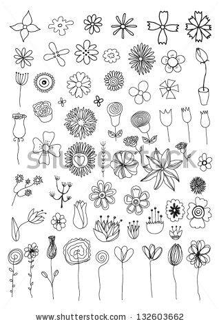 set of flower doodles by orfeev via shutterstock