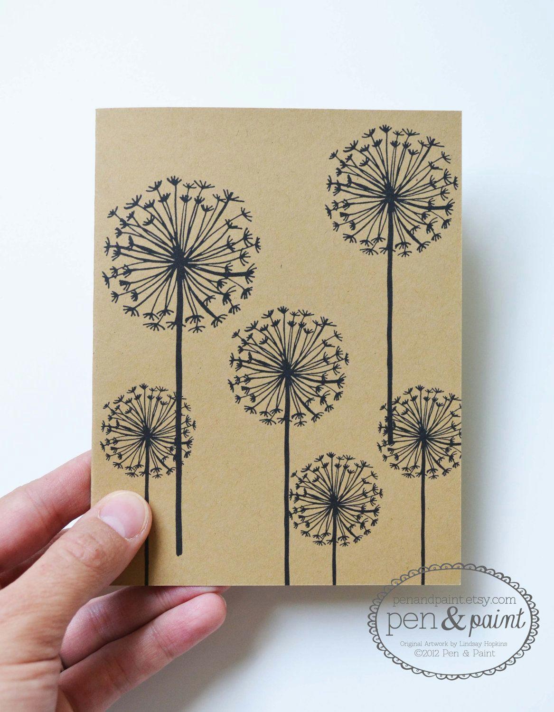 dandelion hand drawn illustration flowers floral notecards greeting cards 10 00 via etsy