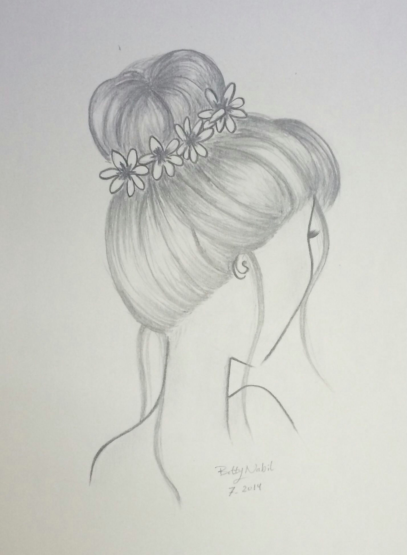 draw hair bun hairstyle with flowers draw pinterest
