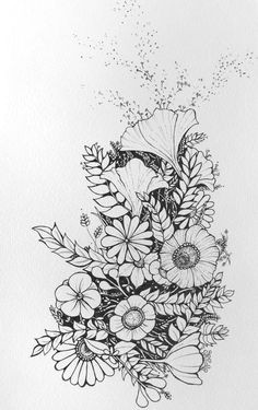 floral flower drawing black and white illustration