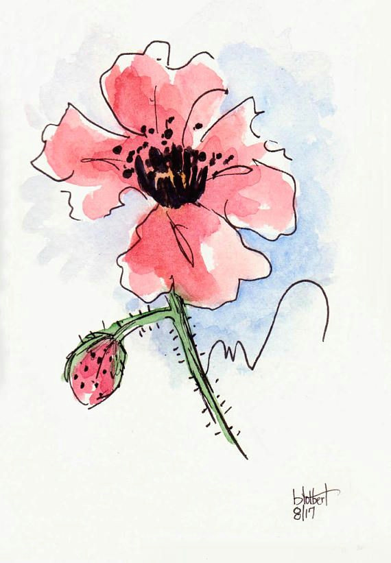 original artwork of a red poppy rendered in pen ink and watercolor it is titled red poppy with blue background and is signed and dated at the bottom